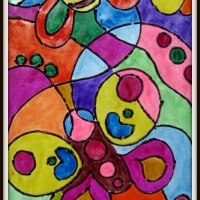 Stain glass style painting on paper